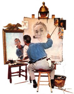 norman-rockwell-triple-self-portrait